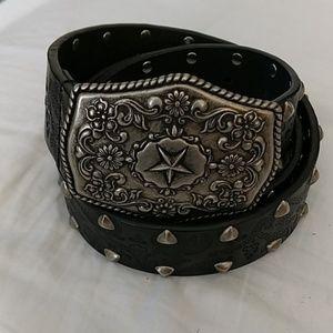 Guess Leather Studded Belt w/Fancy Star Buckle